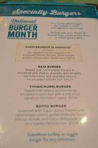The Special Menu for National Burger Month