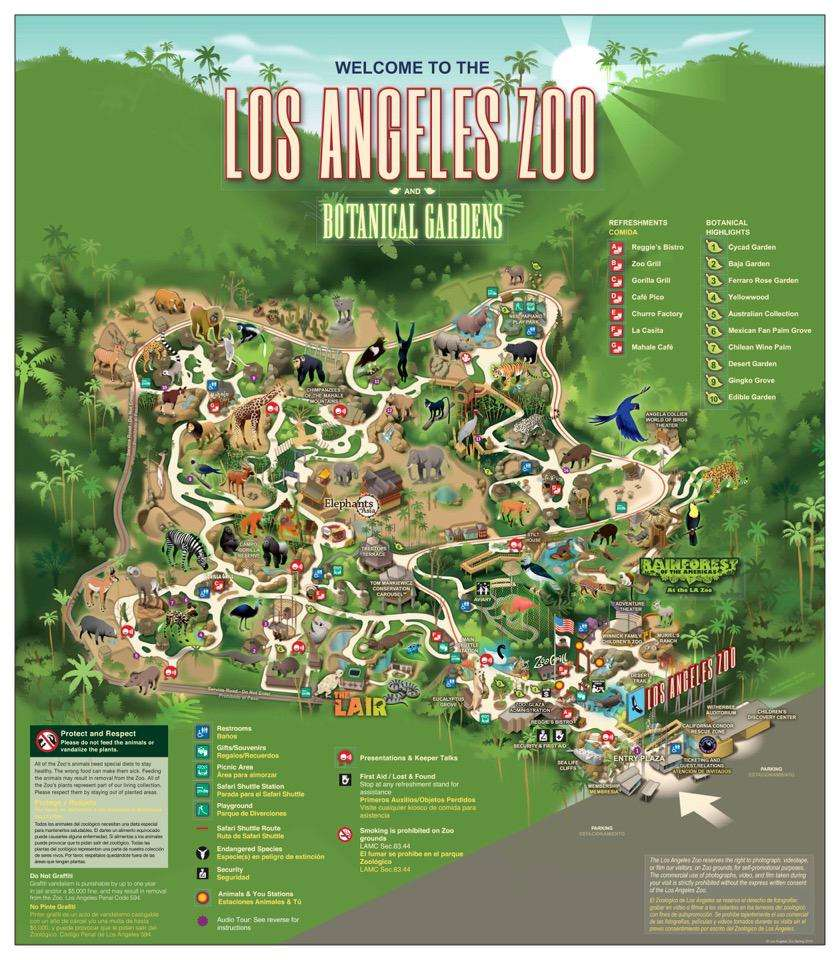 Los Angeles Zoo Map